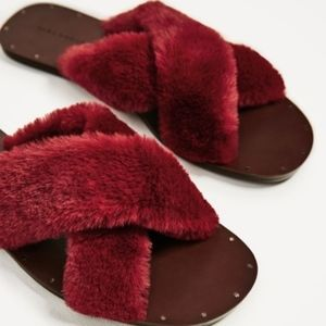 Zara Red Fur Slides Bloggers Favorite